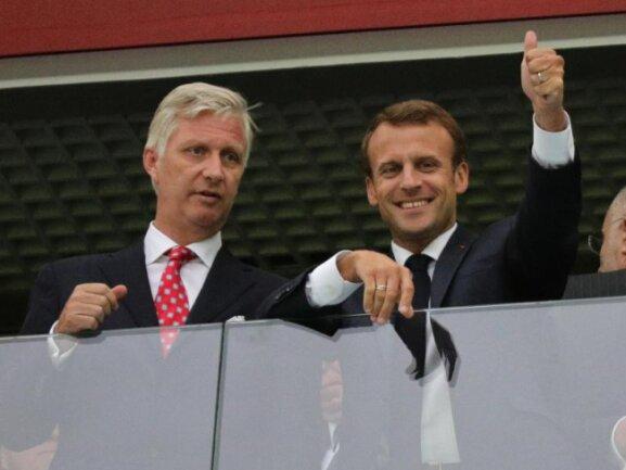 <b>Unterstützung</b><br/>König Philippe von Belgien (l) und der französische Staatspräsident Emmanuel Macron unterstützten ihre Teams im Stadion von St. Petersburg. Foto: Christian Charisius<br/>10.07.2018 (dpa)