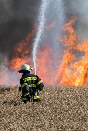 <p>Der dritte Brandherd befand sich etwa 400 Meter weiter entfernt und griff auf ein Weizenfeld über.</p>