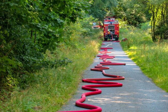 <p>Um den Brand zu löschen, musste lange Wegstrecken mit Schläuchen gelegt werden. Zusätzlich fuhren Tankwagen in den Wald.</p>