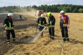 <p>Gegen 15 Uhr wurden die Feuerwehren aus Schneeberg, Aue und Bad Schlema zu dem Feld unterhalb des Keilberges gerufen.</p>