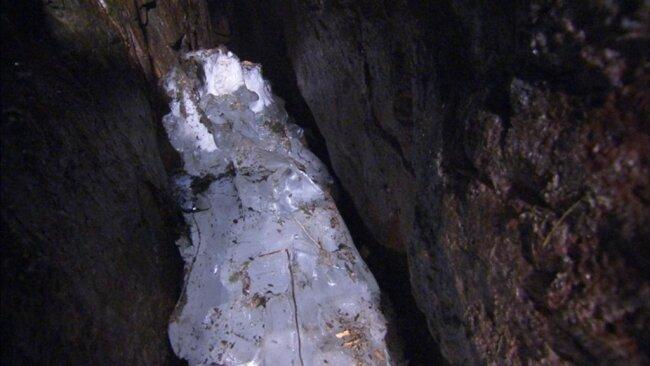 <p>Die sogenannte Eispinge liegt unweit von Johanngeorgenstadt im tschechischen Teil des Erzgebirges.</p>