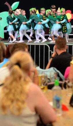 <p>Tanzgruppe des Mittweidaer Freizeitzentrums im Festzelt auf dem Markt.</p>