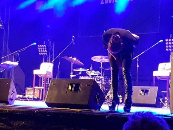 <p>Gegen 22 Uhr betrat Julia Neigel die Bühne am Domhof. Zunächst verbeugte sich die Sängerin vor dem Zwickauer Publikum.</p>