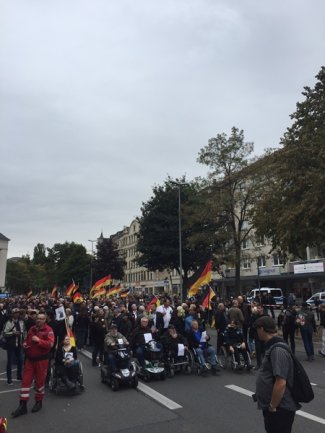 <p>Demonstranten der AfD formieren sich.</p>
