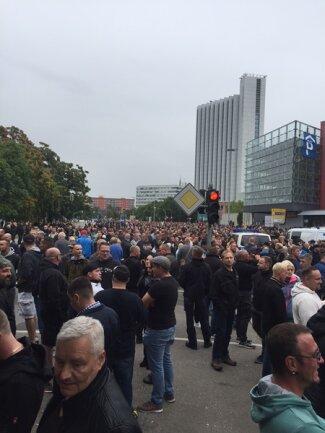 <p>Teilnehmer der AfD-Demo.</p>