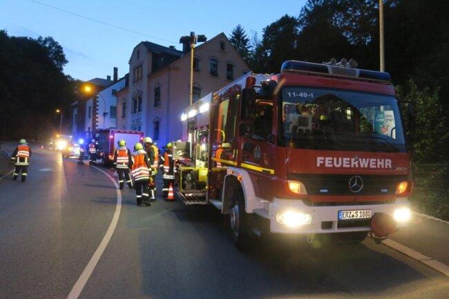 <p>Neben Rettungsdienst und Polizei waren Feuerwehren aus Schneeberg und Bad Schlema mit 30 Einsatzkräften vor Ort.</p>