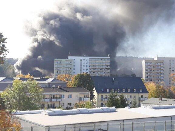 <p>Rauchschwaden waren weithin über Flöha zu sehen, selbst von Chemnitz aus.</p>