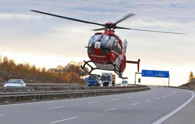 <p>Der Rettungshubschrauber aus Zwickau war im Einsatz.</p>