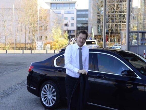 <p>Ministerpräsident Michael Kretschmer (CDU) bei der Ankunft.</p>