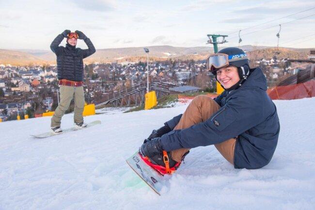 <p>Spaß im Schnee: Peter Goldberg aus Stuttgart und Kristin Lenz aus Schneeberg.</p>