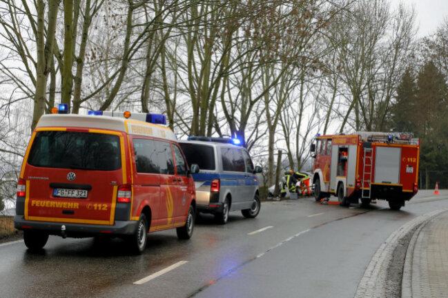<p>Die Bergungsarbeiten der Feuerwehr in Höhe des Sportplatzes gestalteten sich etwas schwieriger: Es bestand die Gefahr, dass der Baum auf die Straße kippt.</p>
