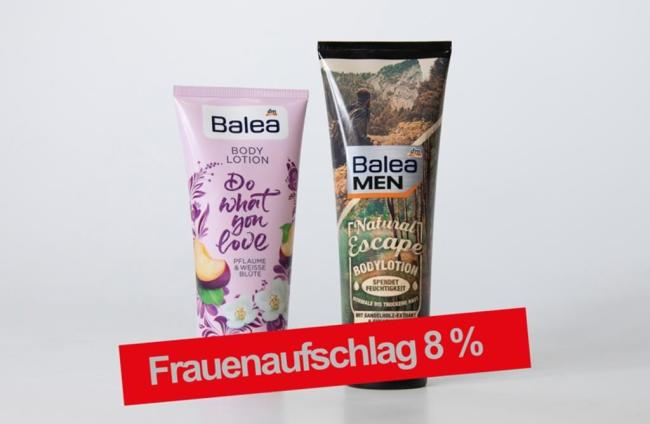 <p>Frauenprodukt: Balea Do what you love Bodylotion 200 ml, Pflaume &amp; Weiße Blüte dm 1,25 € (0,63 € / 100 ml), Männerprodukt: Balea Men Natural Escape Bodylotion 250 ml, mit Sandelholz-Extrakt &amp; Sheabutter dm 1,45 € (0,58 € / 100 ml)</p>