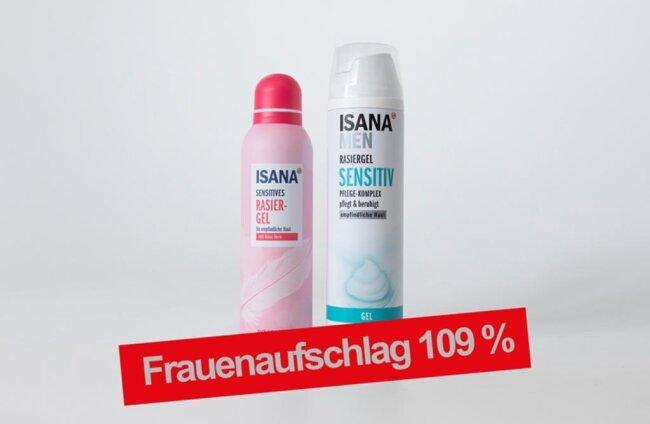 <p>Frauenprodukt: Isana Sensitiver Rasierschaum 150 ml, für empfindliche Haut, mit Aloe Vera Rossmann 0,89 € ( 0,59 € / 100 ml); Männerprodukt: Insana men Rasierschaum Sensitiv 300 ml, Pflege-Komplex, schützt &amp; beruhigt, für empfindliche Haut Rossmann 0,85 € (0,28 € / 100 ml)</p>