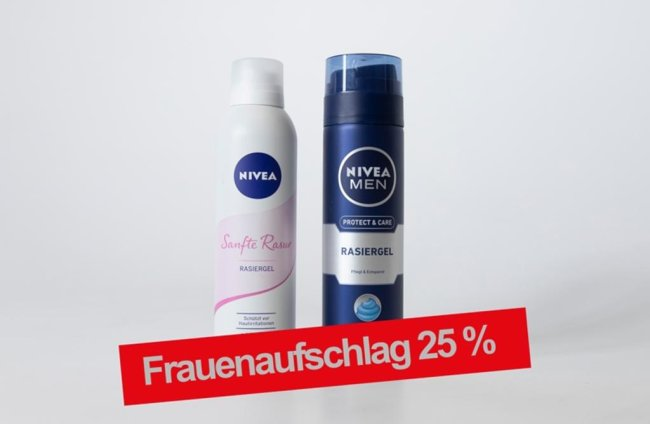 <p>Frauenprodukt: Nivea Sanfte Rasur Rasiergel 200 ml, schützt vor Hautirritationen, mit Vitamin E Budni 2,99 € (1,50 € / 100 ml), Männerprodukt: Nivea Men Protect &amp; Care Rasiergel 200 ml, Pflegt &amp; Entspannt, mit Aloe Vera, Ultra Glide Technology Bundi 2,39 € (1,20 € / 100 ml)</p>