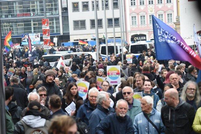 <p>Bis zu 250 Menschen kamen zur Kundgebung der AfD, so die Versammlungsbehörde der Stadt.</p>