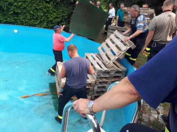 <p>Die Kameraden pumpten den Pool leer und bauten eine Treppe aus Europaletten.</p>