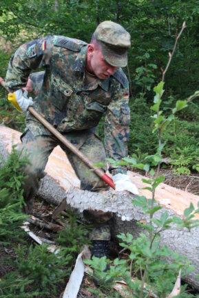 <p>Die Soldaten helfen bei der Beräumung des Waldes, um vor allem den Borkenkäferbefall zu mindern.</p>