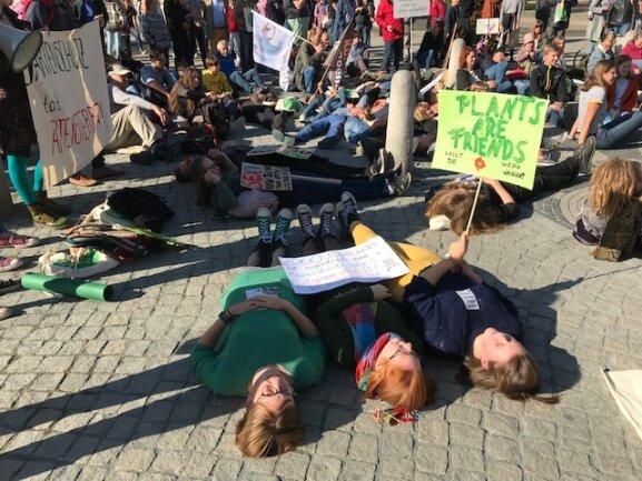 <p>Umweltschützer beim sogenannten Die-In am Postplatz.</p>