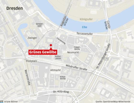 <p>Das Grüne Gewölbe liegt mitten in Dresdens Stadtzentrum.</p>