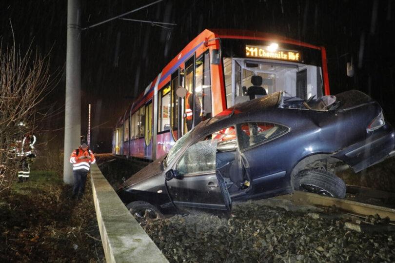 <p>Ein Pkw ist mit einer Citybahn kollidiert.</p>