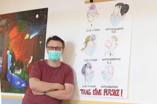 <p>Kunstlehrer Jörg Bauers gestaltete ein augenzwinkerndes Corona-Plakat.&nbsp;</p>