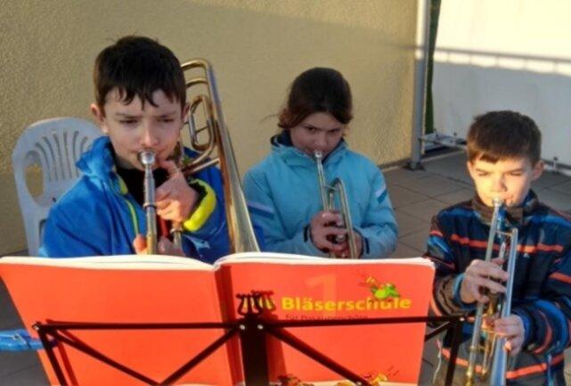 <p>Elias, Laura und Joel spielten in Stuttgart über 350 Kilometer hinweg für Oma Margitta in Grünbach ein Ständchen.&nbsp;</p>