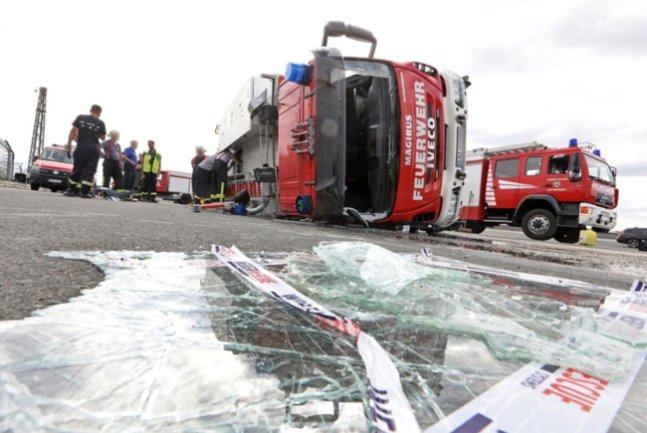 <p>Das verunglückte Fahrzeug gehört der Freiwilligen Feuerwehr Scharfenstein.</p>