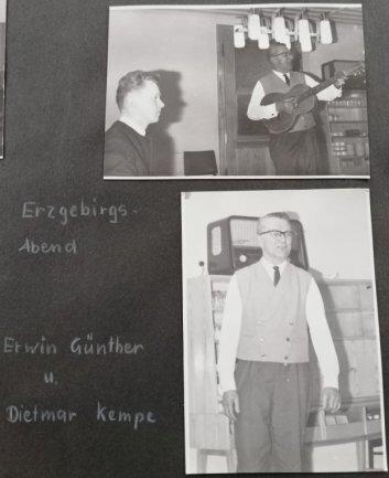 """<p><span class=""""img-info"""">Erwin Günther - der Sohn von Anton Günther, begrüßte zusammen mit Dietmar Kempe beim Erzgebirgsabend die neuen Feriengäste.</span></p>"""