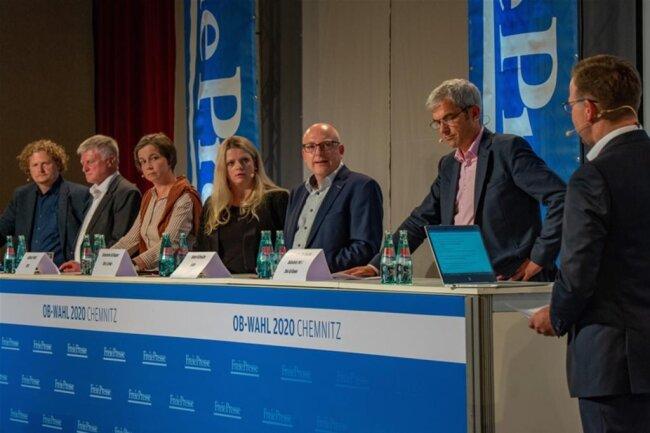 <p>Zu Gast waren (v.l.): Lars Faßmann (parteilos), Ulrich Oehme (AfD), Almut Patt (CDU), Susanne Schaper (Die Linke), Sven Schulze (SPD) und Volkmar Zschocke (Bündnis 90/Grüne).</p>