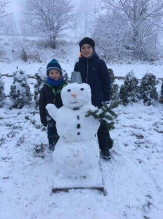 <p>Frederik und Moritz haben diesen Schneemann gebaut, schreibt Familie Köhler aus Hohndorf.</p>