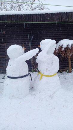 <p>Zwei Ju-Jutsuka-Schneemänner, die trainieren. Der schwarze macht eine Ohrfeige und der gelbe blockt diesen, erklärt Dany Gantze.</p>
