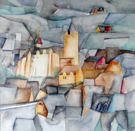 <p>Dieses Aquarell ist dem Wahrzeichen von Zschopau gewidmet: Schloss Wildeck.</p>