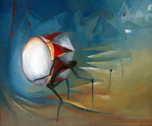 """<p>""""Trommler 3"""": Öl auf Leinwand (2014).</p>"""