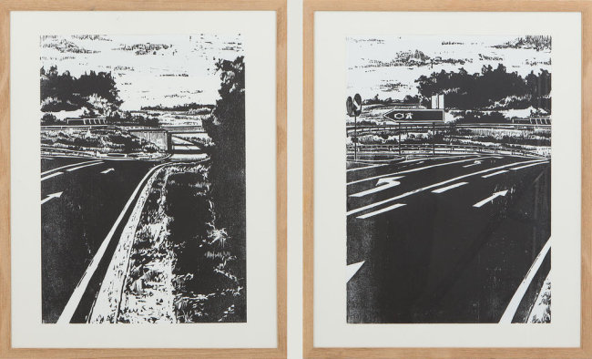 """<p>""""Autobahn 1: Autobahn 2"""" - Holzschnitt von Felix Lorenz (21) aus&nbsp;Kasendorf</p>"""