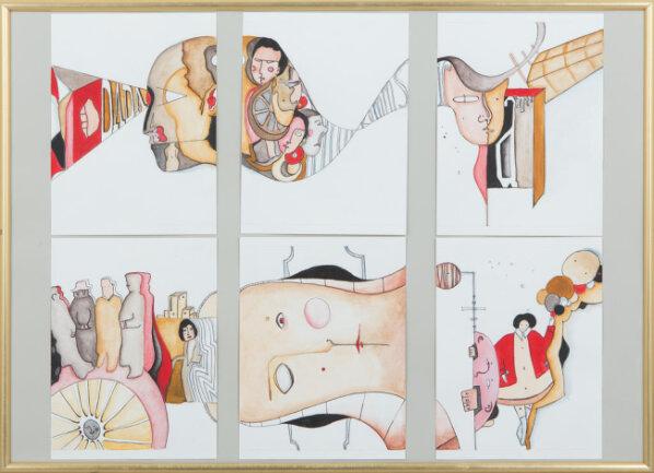 """<p>""""Zirkus der Gemüter"""" - Gouache-Malerei von Angelina Kärcher (18) aus Flöha</p>"""