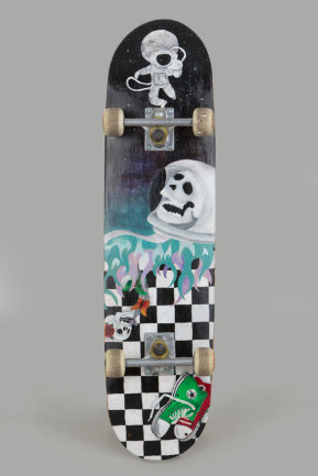 """<p>""""Art-Board"""" - Skateboard bemalt mit Acryl auf der Unterseite von Anna Spranger (14) aus Weischlitz, OT Kürbitz</p>"""