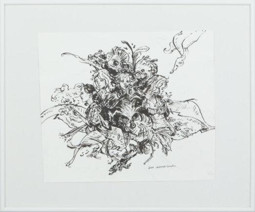 """<p>""""sui"""" - Tuschezeichnung mit Brush-Pen von Antonia Grünler (17) aus Plauen</p>"""