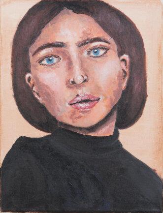 """<p>""""Selbstportrait"""" - Acryl auf Leinwand von Laura Geißler (17) aus Lichtenau</p>"""