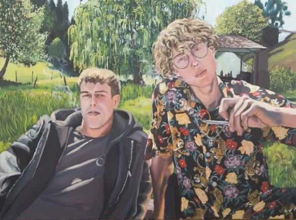 """<p>""""Sommerfreunde"""" - Öl auf Leinwand von Nathanael Uhlig (19) aus Augustusburg&nbsp;</p>"""