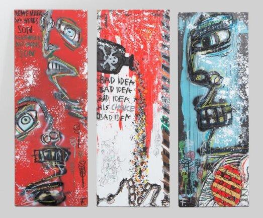 """<p>""""Remember my words son"""" - Schabe- und Drucktechnik mit Acrylfarbe, Spray-Print und Wachsmalstiften von Filip Bayer (18) aus Chemnitz</p>"""