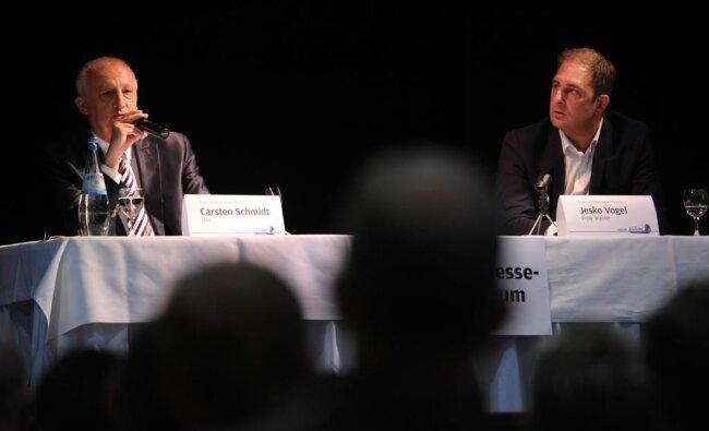 """<p>Jesko Vogel beim """"Freie Presse""""-Wahlforum mit seinem Kontrahenten Carsten Schmidt von der CDU im Jahr 2015.</p>"""