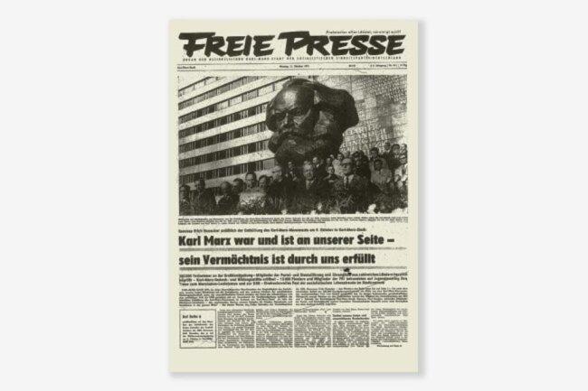 <p>Ein Ausschnitt aus der damaligen Ausgabe der Freien Presse zur Enthüllung des Karl-Marx-Monuments.</p>