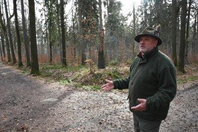 Der Limbach-Oberfrohnaer Jäger Steffen Brendel schaut sich den Weg an, auf dem ein Quad vor wenigen Tagen unterwegs war. Die Polizei sucht nach dem bislang unbekannten Fahrer.