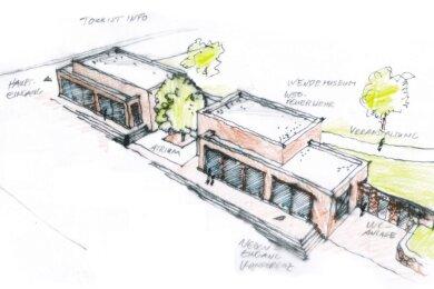 Diese Entwurfsskizze des Plauener Architekturbüros Wehner von Januar 2018 verdeutlicht, wie sich ein zweigeschossiger Neubau an der Melanchthonstraße einordnen könnte. Es handelt sich nicht um die endgültige Planung. Dafür würde die Stadtverwaltung wohl einen Architekturwettbewerb ausloben.