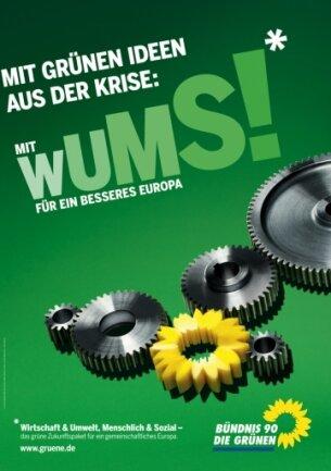 """<p class=""""artikelinhalt"""">Mal patriotisch, mal mit markigen Sprüchen: Die Parteien gehen vor der Europawahl mit unterschiedlichen Konzepten auf Wählerfang: Hier das Plakat der Grünen.</p>"""