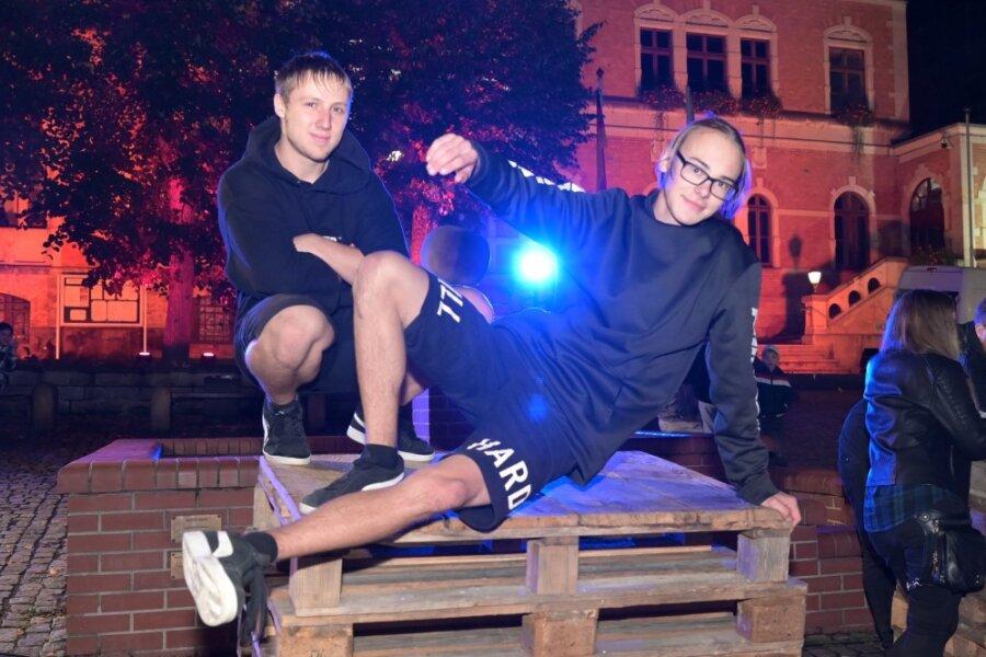 Elias Kunze (links) und Roman Zeun vom Parcours-Team Stollberg zeigten ihr Können,