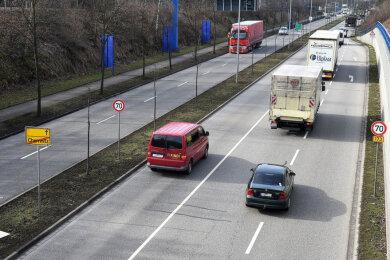Chemnitz Blick auf die Neefestraße in Richtung Autobahn A 72