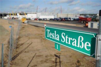 Wegweisend ist nicht nur dieses Schild an der Baustelle in Brandenburg: Im November 2019 kündigte Firmenchef Elon Musk den Bau eines Tesla-Werkes in Grünheide bei Berlin an. Bereits Mitte 2021 soll hier die Autoproduktion starten.