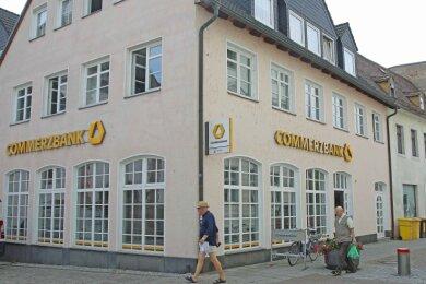 Die Commerzbank-Filiale in der Innenstadt von Crimmitschau hat aufgrund der Corona-Pandemie geschlossen.