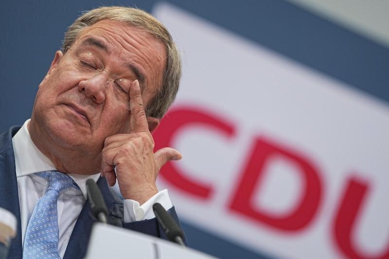 CDU-Kanzlerkandidat Armin Laschet bei einer Pressekonferenz nach der Bundestagswahl.